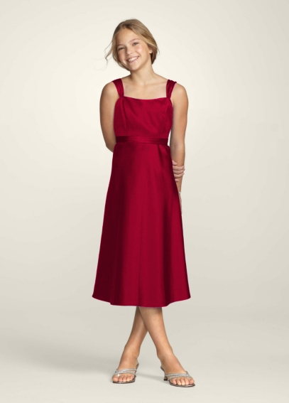 Tea Length Wide Strap Tank Dress with Tie Back JB4628