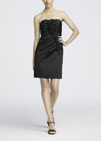 Strapless Satin Short Dress with Floral Detail 85004