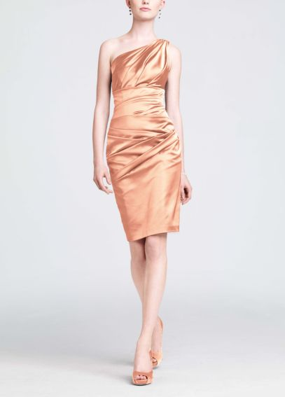 Short One Shoulder Stretch Satin Dress 85106