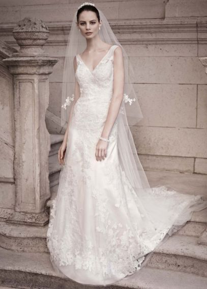 A-line Gown with Illusion Straps and Beaded Lace CWG517