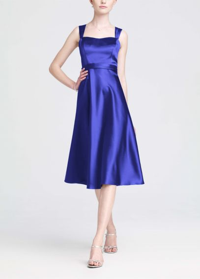 Satin Wide Straped Tea Length Dress F14556