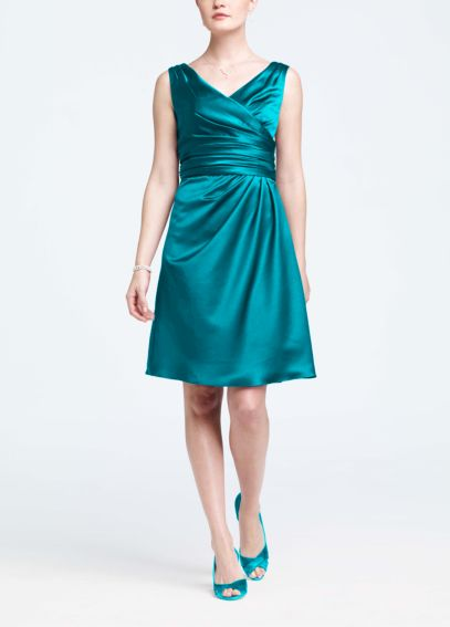 Sleevess Satin Short Dress with Ruched Waist F14823
