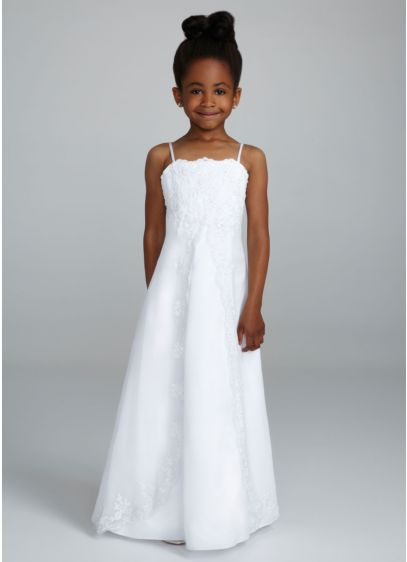 Long A-Line Spaghetti Strap Communion Dress -