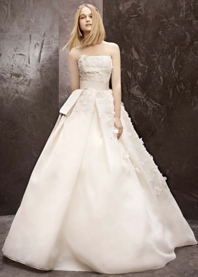 Basket Weave Organza Gown with Floral Detail VW351124