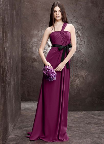 One Shoulder Asymmetrical Draped Column Dress VW360070