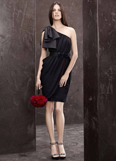 One Shoulder Draped Dress with Mikado Bow Detail VW360083