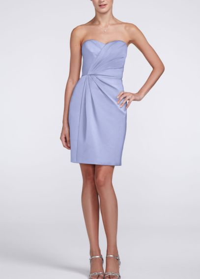 Short Strapless Satin Dress with Pleating F15103