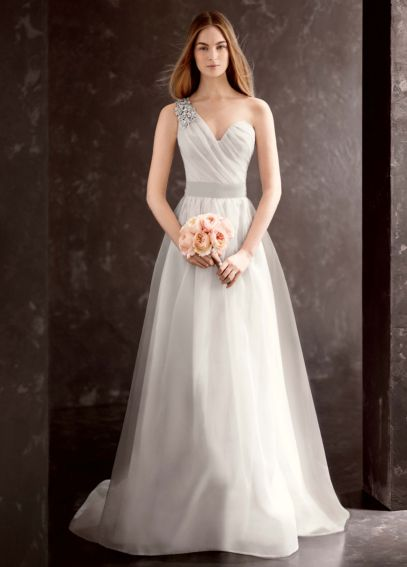 White by Vera Wang One Shoulder Wedding Dress VW351185