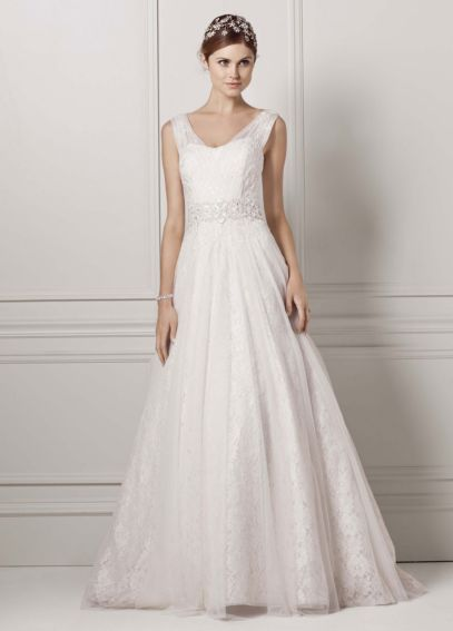 Oleg Cassini Tank Wedding Dress with Lace Accents CWG530