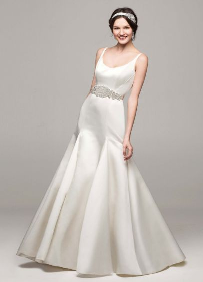Satin Trumpet Wedding Dress with Pleated Skirt MB3652