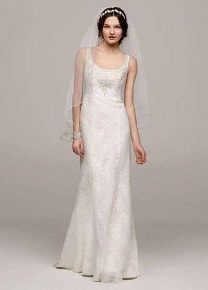 All Over Lace Tank Gown with Illusion Back MK3535
