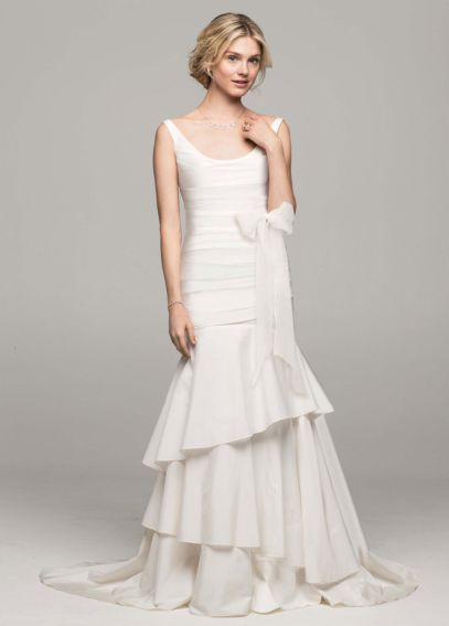 Taffeta Scoop Neck Ruched Bridal Gown with Tiering PK3472