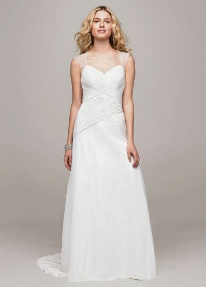 Chiffon A Line Gown with Beaded Cap Sleeve Detail V3688