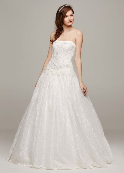 Strapless All Over Beaded Lace Ball Gown WG3561