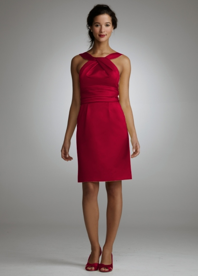 Y Neck Slim Satin Dress with Ruched Waistband F44319