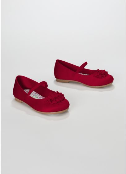 Red (Flower Girl Ballet Flat with Ruffle Detail)