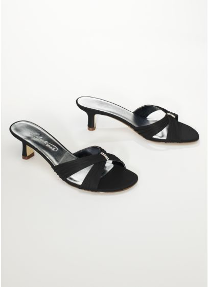 Black (Satin Slide On Sandal with Ruching and Crystals)