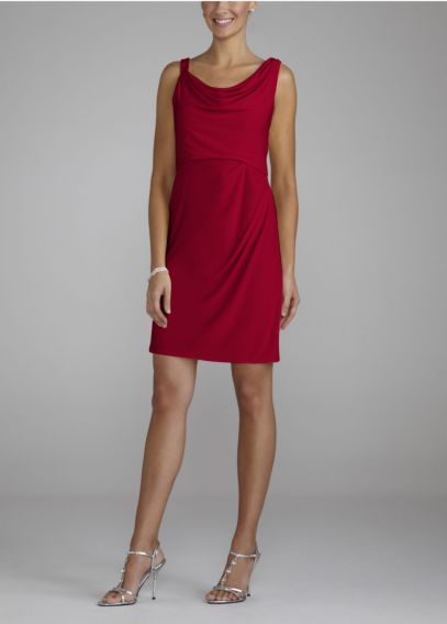 Short Draped Neck Beaded Jersey Dress F45007