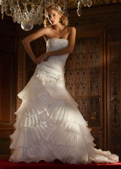 Organza Gown with Pleated Tier Skirt and Lace  SWG473