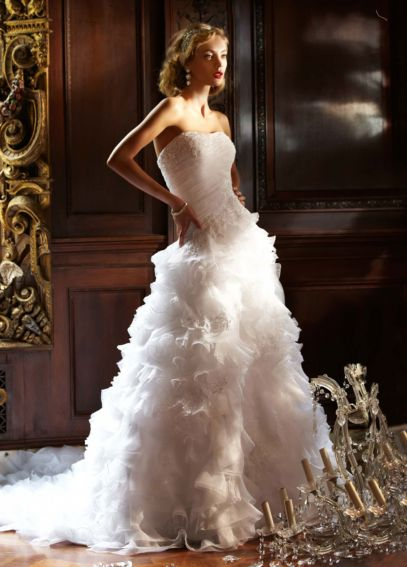 Organza Ball Gown with Ruffled Skirt and Beading SWG484