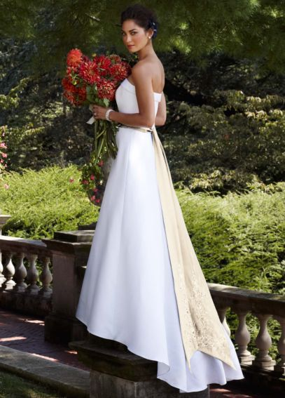 Strapless Satin A-line with Cuff Neckline  T8778