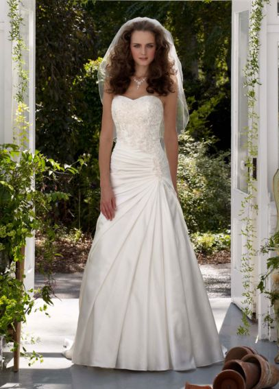 Satin Strapless Wedding Dress with Beaded Bodice V3330