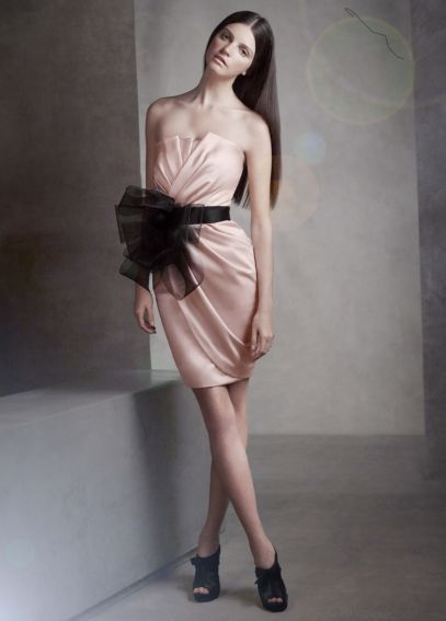Short Draped Satin Dress with Sash VW360017