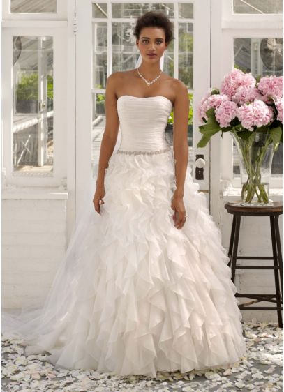 Strapless Organza Ball Gown with Ruffle Detail - Davids Bridal
