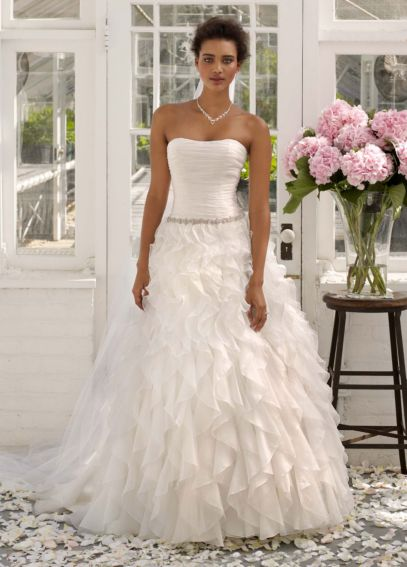 Strapless Organza Ball Gown with Ruffle Detail AI10011984