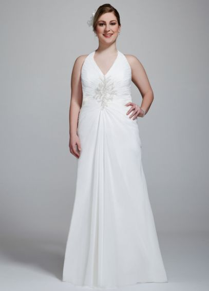Chiffon Halter Wedding Gown with Beaded Embroidery 9V3485