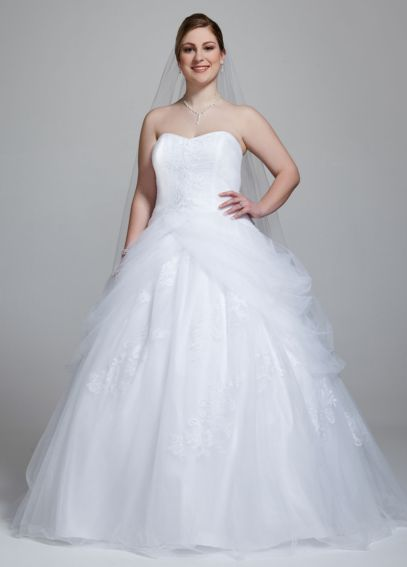 Tulle Plus Size Wedding Dress with Side Swags 9WG3403