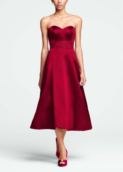 Strapless Sweetheart Tea Length Dress with Beading F15413