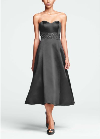 Tea Length A-Line Strapless Dress -