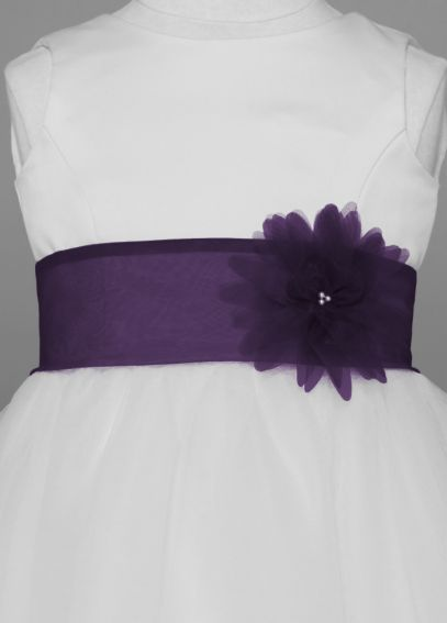 Organza Self Tie Sash with 3D Flower S1051
