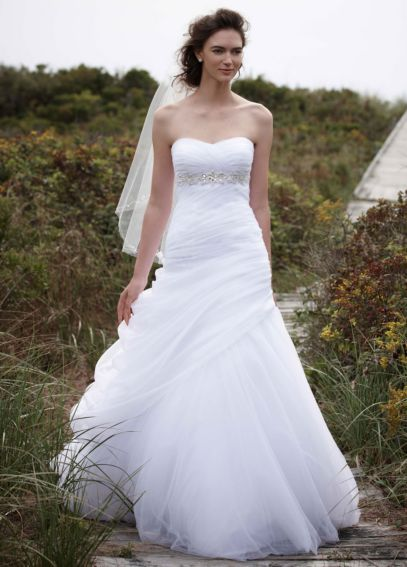 Strapless Ruched Beaded Ball Gown with Draping V3448