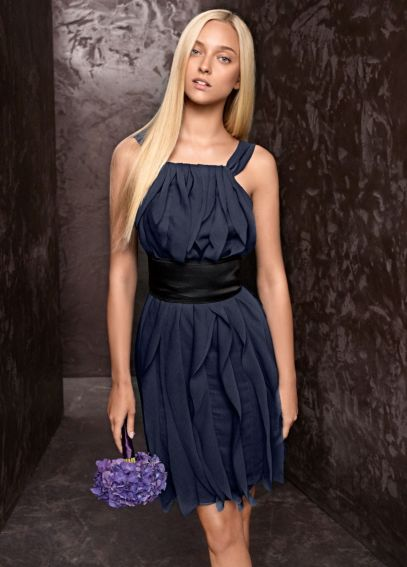 Crinkle Chiffon Halter Dress with Mikado Sash VW360101