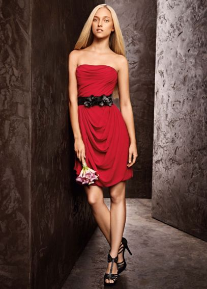 Short Soft Strapless Draped Dress with Belt VW360103
