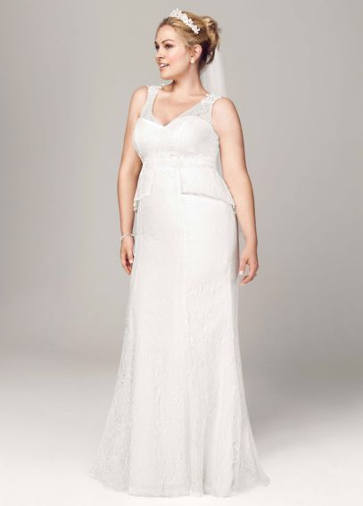 Sheath Lace Gown with V Neck and Illusion Back 9KP3623