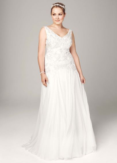 Chiffon A Line Gown with Beaded Bodice 9MK3649