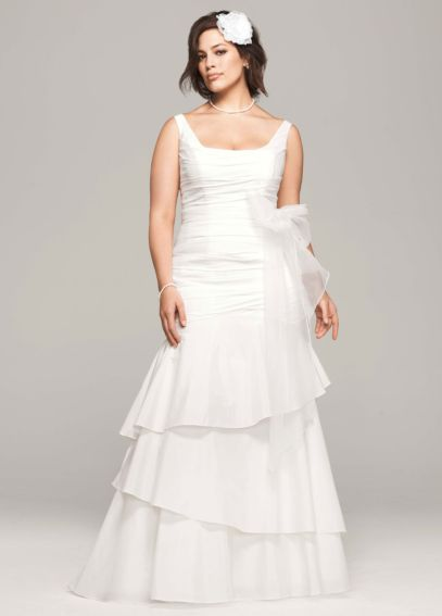 Taffeta Scoop Neck Ruched Bridal Gown with Tiering 9PK3472