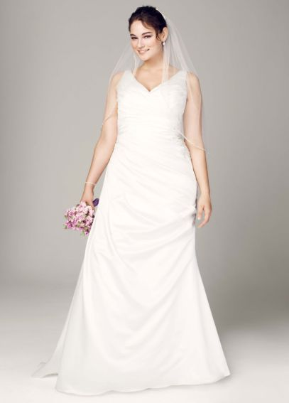 Strapless Satin V Neck Gown with Ruched Bodice 9WG3551