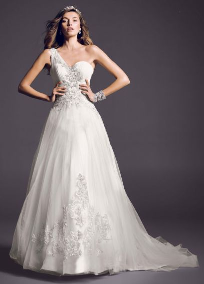 One Shoulder Tulle Ball Gown with Lace Appliques AI14010275