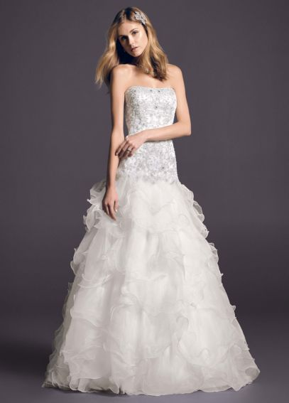 Oleg Cassini Organza Wedding Dress with Lace  CWG546