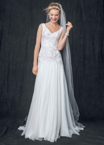Chiffon A Line Gown with Beaded Bodice MK3649