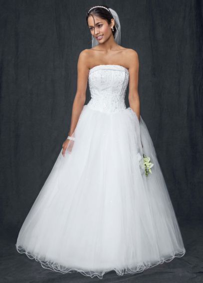 Strapless Tulle Ball Gown with Beaded Satin Bodice AI10011466