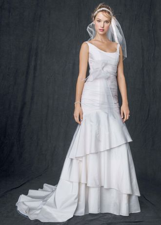 Taffeta Scoop Neck Ruched Bridal Gown with Tiering Davids Bridal