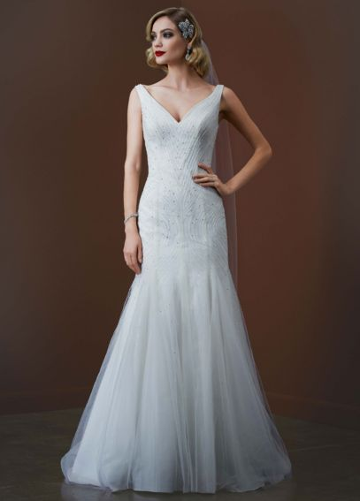 Tulle Tank Gown with Deep V Neckline SPK583