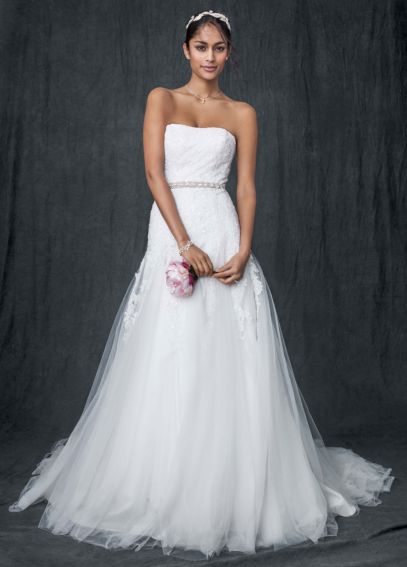 Strapless Tulle A-line Gown with Beaded Appliques AI10043035