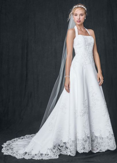 Satin Halter A-line Wedding Dress with Beaded Lace V8377