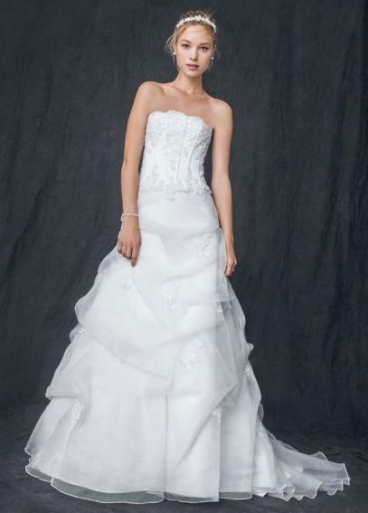 Organza Corseted Wedding Dress with Beaded Lace V9263